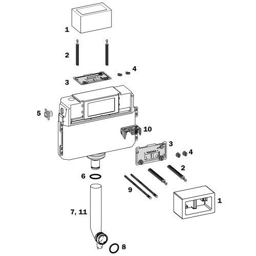 TECE-Ersatzteil Klemmschrauben für TECE-Spülkastendeckel, 2 Stück