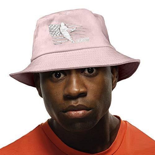 Sombrero de pescador de Lacrosse con la bandera estadounidense, no aplicable, protección UV, para senderismo, pesca, color negro Rosa rosa Taille unique