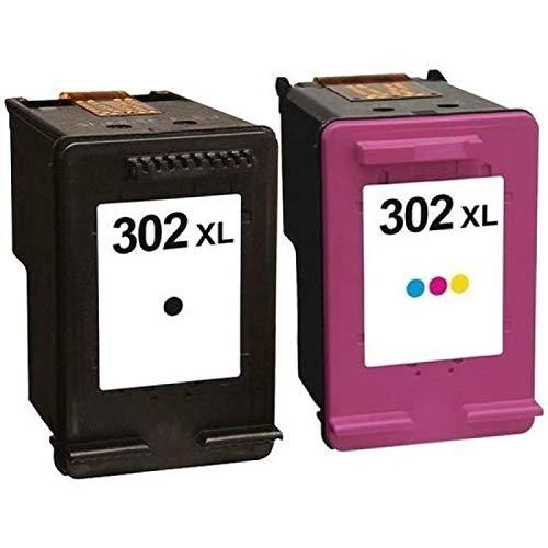 Pack 2 cartouches d'encre N° 302 XL/Grande capacité/Noir et Couleur pour imprimante HP Deskjet 3636 3639 - PLEIN D'ENCRE