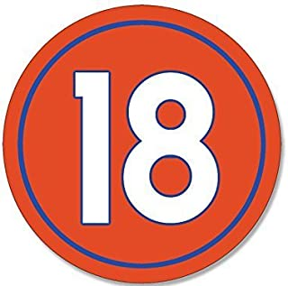 GHaynes Distributing Round #18 Peyton Manning Denver Colors Sticker Decal (number 18 broncos) Size: 4 x 4 inch