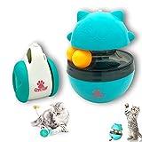 Croc-Cat Duo CULBUTO Jouet Distributeur de Croquette pour Chat/Chaton + Jeux avec Boule d' Herbe à Chat Interactive, Drole avec Double balles, Plumes Amusant sans Batterie Durable, Bonne capacité