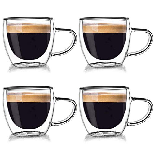 ORION GROUP Thermogläser 4 Stück Kaffeegläser Teeglas Kaffeeglas Doppelwandiges Doppelwandige Gläser Thermoglas für Kaffee Espresso Cappuccino Tee 110 ml