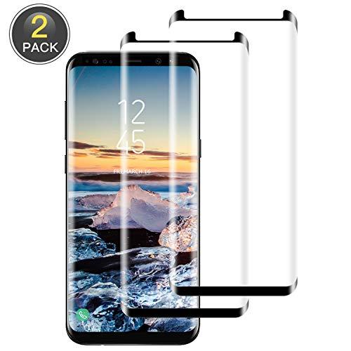 Wiestoung Protector de Pantalla para Samsung Galaxy S8 Plus,3D Cobertura Completa Cristal Templado, Alta Definicion, 9H Dureza, Resistente a Arañazos Vidrio Templado para S8 Plus - 2-Unidades