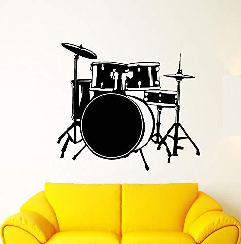 wopiaol Musikinstrument Wandaufkleber Abnehmbare Vinyl Drum Kit Schlagzeuger Musik Wandtattoo Musik Bar Wandkunst Wand Musical Decor 64x57 cm