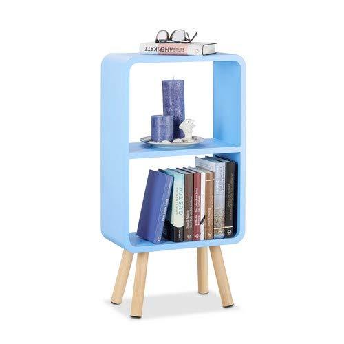 Relaxdays boekenkast met 2 vakken, smalle MDF boekenkast zonder laden, woonkamer plank met houten poten, blauw