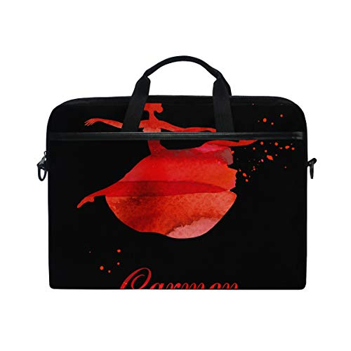 EZIOLY Ballet Dancer Watercolor Laptop Shoulder Messenger Bag Case Sleeve for 13 Inch to 14 inch Laptop
