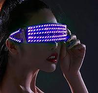 LEDメガネ LEDサングラス LEDサングラスは、ナイトクラブ、DJ、コンサート、ハロウィーン、誕生日パーティー用の充電式点滅シャッターネオン光るメガネを点灯します (青)