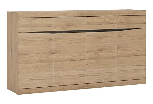 Furniture To Go Wide 4 Drawer 4 Door Sideboard, Medium Oak