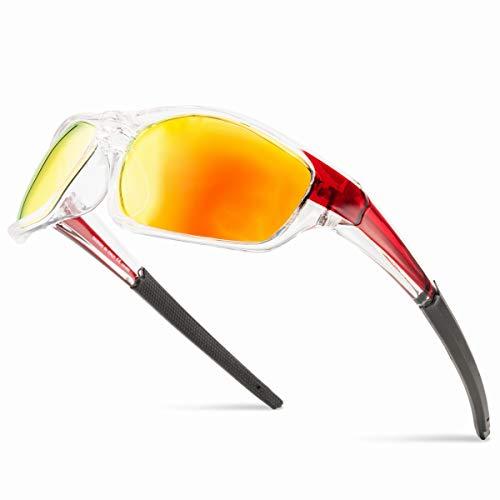 Grainas Gafas de sol deportivas polarizadas para hombre y mujer, para ciclismo, esquí, conducción, pesca, correr, senderismo, protección UV400, Amarillo Rojo No.2, L