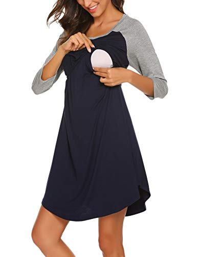 UNibelle Chemise de Nuit Femme Enceinte Pyjama Maternité Grossesse Manche 3/4 Robe de Chambre S-XXL