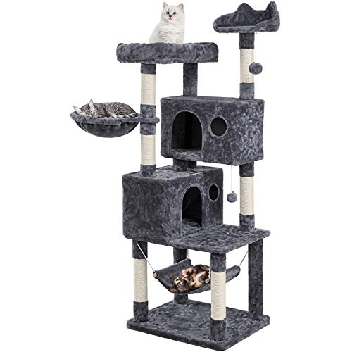 YAHEETECH 64.5in Extra Large Multi-Level Cat Tree Kittens Play House Condo with Platform, Perch Hammock & Scratching Posts, Dark Gray
