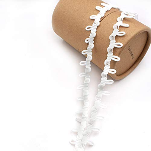 Yalulu 18 Yards Mini Buttonhole Trim Pom Pom Ball Fringe Ribbon Tassel DIY Craft Sewing Accessory for Home Curtain Clothes Pillow Decoration (White)