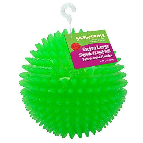 "Gnawsome 4.5"" Spiky Squeak & Light Ball Dog Toy"