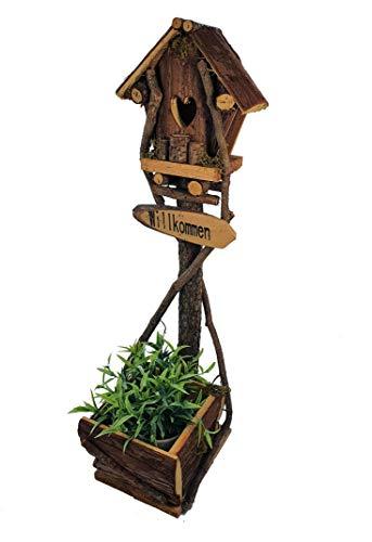 Spetebo decoratieve plantenpot met vogelhuisjes op standaard - 58 cm - houten bloempot voor huisdeur of tuindecoratie