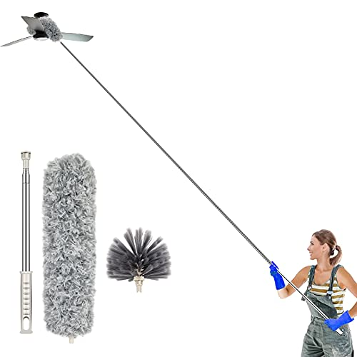 Atopov Microfiber Duster for Cleaning Extendable Duster Collector Head Bendable Washable with 100-inch Stainless Steel Extension Pole Lint Free Dusters,Roof, Ceiling Fan, Blinds, Cobwebs