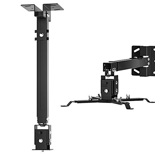 Tuimen Projector Mount,4 in 1 Universal Ceiling Mount 16.9 – 25.6 Inch for Different Sizes Projectors,Extendable Length Wall Mount for LCD/DLP Projectors (2021 Upgraded)
