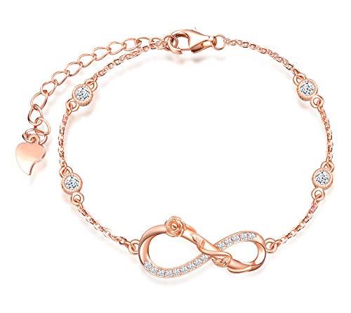 INFINIONLY Bracciale da donna, Parure di gioielli in argento sterling 925, bracciali con simbolo dell'infinito e rosa elegante, intarsio in zirconio, oro rosa, Regali di compleanno e Natale