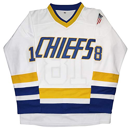 Micjersey Hanson Brothers Trikot Charlestown Chiefs 16,17,18 Slap Shot Eishockey Movie Jersey -  Weiß -  XX-Large