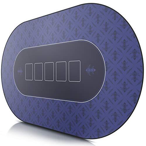 CSL- Tapis de Poker Ovale Bleu 1000x600mm - sous-Main Bureau
