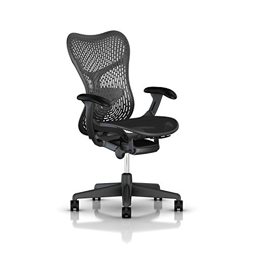 Herman Miller Mirra 2 Task Chair: Tilt Limiter - FlexFront Adj Seat Depth - Adj Lumbar Support - TriFlex Back - Adj Arms - Graphite Base & Frame (Renewed)