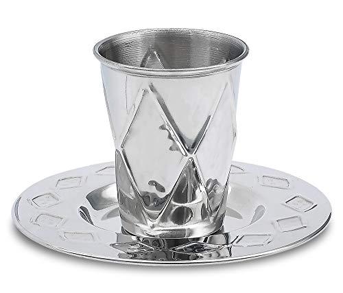 Ner Mitzvah Kidush Copa y la bandeja superior de la calidad del acero inoxidable de la taza del vino para Shabat y la Havdalá Plateado