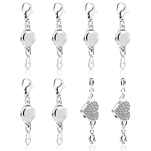 8 pcs Magnetic Necklace Clasps and Closures, Magnetic Clasps for Jewelry, Bracelet Extender, Silver Magnetic Closures with Lobster Clasp, Bracelet Clasp(Silver)