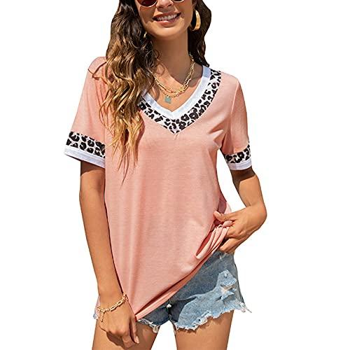 Jersey Informal De Primavera Y Verano para Mujer, Camiseta De Manga Corta con Estampado De Leopardo De Tres Colores Y Cuello En V Suelto, Top para Mujer