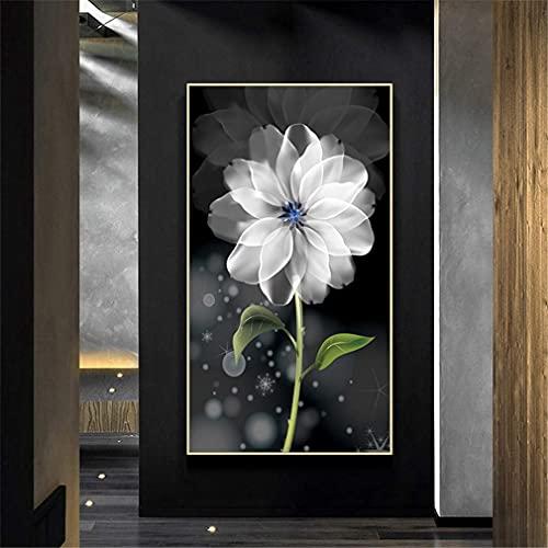 IF.HLMF Kits de Pintura de Diamantes 5D para Bricolaje, Mosaico de Diamantes de imitación de Flores de Taladro Completo para decoración de la Pared del hogar (50x100cm)