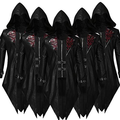 ZHANSANFM Herren Gothic Steampunk Trenchcoat mit Kapuze Frack Mantel Vintage Viktorianischen Cosplay Kostüm Gothic Gehrock Uniform Mittelalter Kleidung Smoking Jacke Coat (XL, Schwarz)