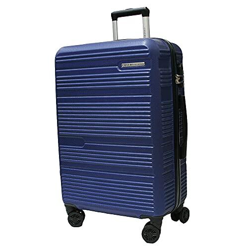 Set trolley abs rigido 3 pz valigie viaggio bagaglio a mano 8 ruote 80100 BLU Cm 70/60/50 Grande/Media/Piccola
