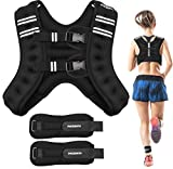 PACEARTH Weighted Vest with Ankle/Wrist Weights 6/12/16lbs Adjustable Body Weight Vest with Reflective Stripe Workout Equipment for Strength Training, Cardio, Walking, Jogging, Running for Men Women