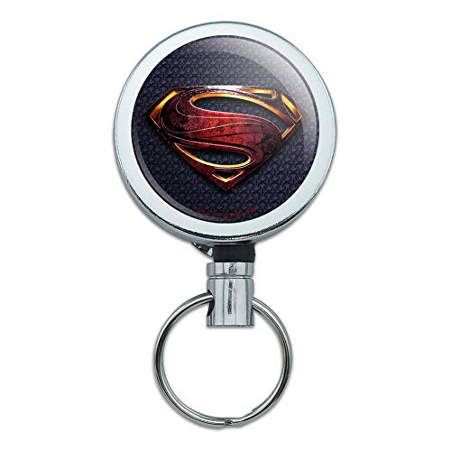Justice League Movie Superman Logo Heavy Duty Metal Retractable Reel ID Badge Key Card Tag Holder with Belt Clip