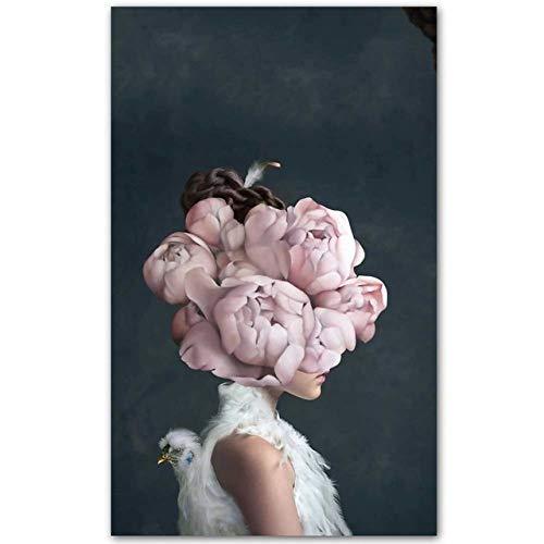 Leinwand drucken Poster Blumen Schmetterling Frau Ölgemälde Wandbilder für Wohnzimmer Home Decor 50x80cm