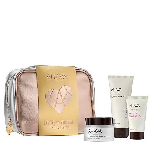 AHAVA Every Day Mineral Essentials Value Set | Dead Sea Essential Day Moisturizer Normal to Dry 50 ml, Purifying Mud Mask 100 ml & Travel Size Mineral Hand Cream 40 ml, 3 ct.