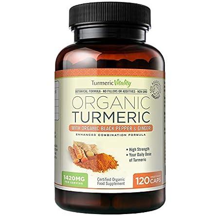 Turmeric Vitality Organic Turmeric Curcumin Capsules 1420mg High Strength Serving with Black Pepper & Ginger for Maximum Absorption of Curcumin   120 Veg Capsules – Certified Organic Supplement