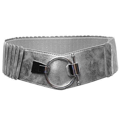 Glamexx24 Cinturón de mujer 8cm Ancho Corsé Atado Cordón Ancho cinturón elástico faja ancha anillo de plata
