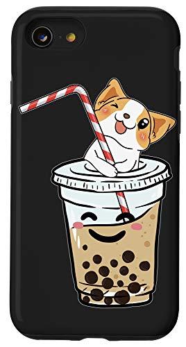 iPhone SE (2020) / 7 / 8 Kawaii Corgi Loves Bubble Tea Funny Boba's Welsh Dog Gift Case