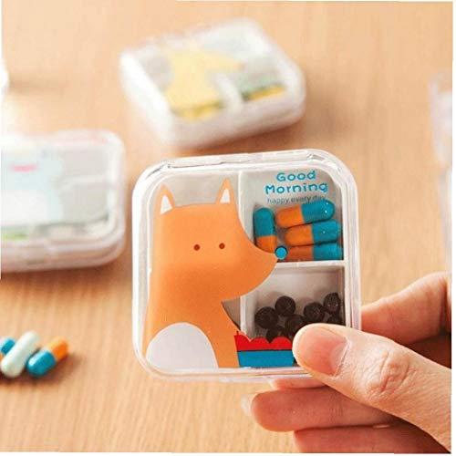 Cajas De Almacenamiento Portátil Caja De La Medicina Tóxica Vitamina Tableta Caso Plástico De Dibujos Animados De Alimentos Organizador No (Estilo Azar)