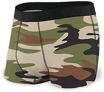 Web--ster Traje de Camuflaje Verde Ropa Interior para Hombres, Ropa Interior de ángulo Plano, Cinturón Boxer Transpirable con Cinturilla expuesta Talla L