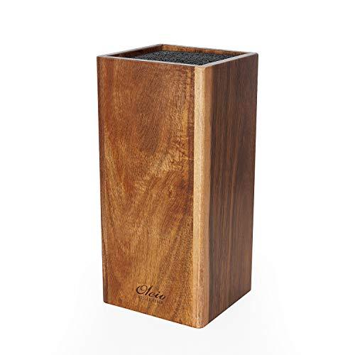 Oleio gerader Messerblock mit Borsteneinsatz aus Akazienholz I Messerblock ohne Messer (unbestückt) aus Holz universal für alle Küchenmesser und Kochmesser mit herausnehmbaren Bürsteneinsatz