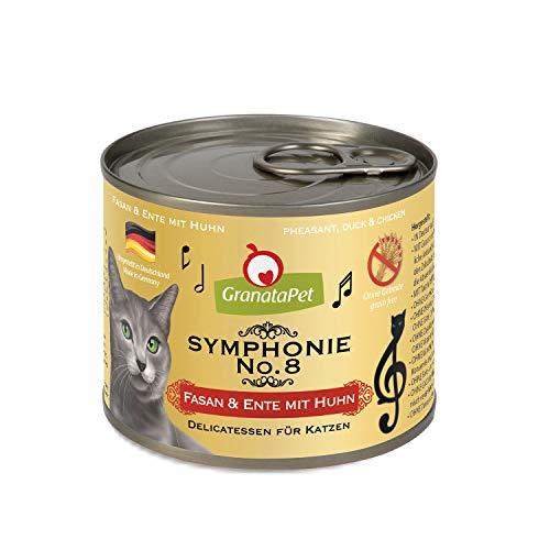 GranataPet Symphonie No. 8 Fasan & Ente, Katzenfutter ohne Getreide & Zuckerzusätze, Filet in natürlichem Gelee, delikates Nassfutter für Katzen, 6 x 200 g, 199353