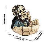 Hearthxy Aschenbecher für draussen Auto Skelett Totenkopf Halloween dekoTischaschenbecher Tischdeko Horror Gruselig Schädeldekoration für drinnen und draußen, Heimdekoration, Raucherbehälter - 7