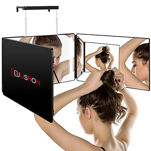 JUSRON 3 Way Mirror for Self Hair Cutting with Lights, Rechargeable LED Makeup Mirror, Light Up Mirror can be Used for Hair Coloring, Braiding, DIY Haircut Tool are Good Gifts for Men and Women