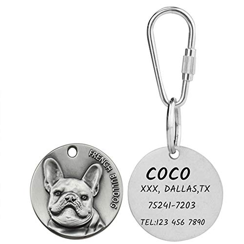 ANG Personalized Pet ID Tags for Dog with 3D Breed Effect, Free Laser Engraved Custom Tibetan Sliver Tag for Small,Medium,Large Dog (French Bulldog)