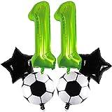 DIWULI, juego de globos de fútbol grandes, globo número 11 XXL verde, balón de fútbol de lámina, globo estrella negro, 11º cumpleaños infantil, fiesta temática, decoración, globo de lámina, deportes
