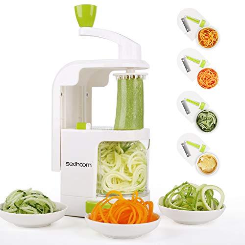 Spiralizer 4-Blade Vegetable Spiralizer Sedhoom Heavy Duty Spiral Slicer Zucchini Noodle & Veggie Pasta & Spaghetti Maker for Low Carb/Paleo/Gluten-Free...