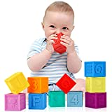 Joso 10PCS Baby Building Stacking Blocks, Soft Squeeze Block Stack Bath Sensory Toys for Baby - BPA Free Toddlers Teething Chewing with Numbers, Letters, Shapes, Animals, Fruit & Textures