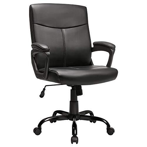 SONGMICS Fauteuil de bureau, Chaise ergonomique, Siège pivotant, PU, rembourrage en mousse, hauteur réglable 95-103 cm, mécanisme basculant, base en étoile, Noir OBG39BK