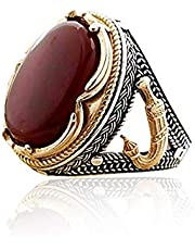 خاتم فضة تصميم كلاسيك ملكي رسمي بفص عقيق أحمر راقي ومميز ، الفضة درجة أولى عيار 925 ،قابل لغيير المقاس حسب الحاجة