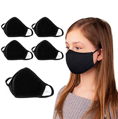 5-Pack Reusable & Washable Cloth Black Face Mask for Kids   Comfortable & Stretch Cotton   Kids Black Face Mask   For Age 10-16